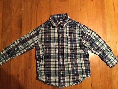 Toddler Boy Janie And Jack Blue Long Sleeve Button Front Plaid Shirt Size 2T