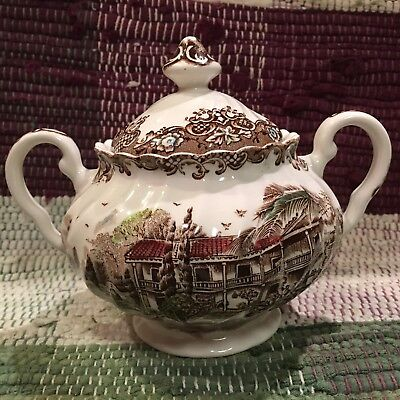 Johnson Brothers Heritage Hall Brown Multicolor Sugar Bowl&Lid , Excellent! NEW!