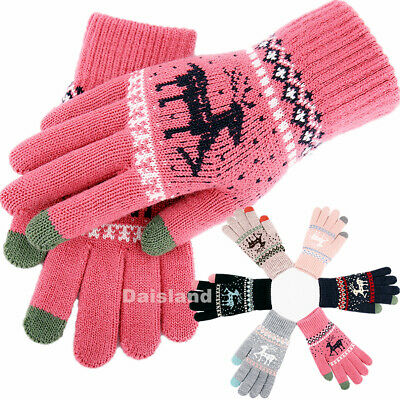 1/2/4Par Winter Gloves Unisex Women Men Touch Screen Warm Knit Thermal Insulated