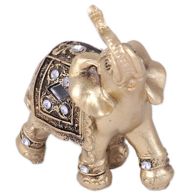 "3.5"" Feng Shui Elegant Elephant Trunk Statue Lucky Wealth Figurine & Home Decor"