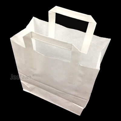 25 SOS Paper Bags White Small 18cm x 23cm x 9cm Takeaway Restaurant Foods