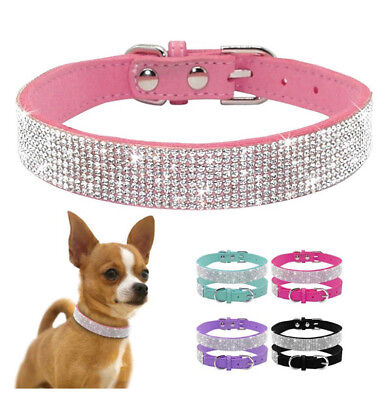 Suede Leather Rhinestone Dog Collar Soft Cat Puppy Small Pet Necklace Collars