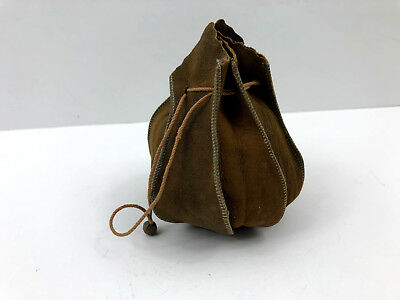 Vintage 8 Panel Suede Leather Drawstring Pouch for Money Marbles Dice
