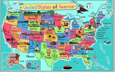 Frame Cartoon America USA United States map wall Picture Print painting poster