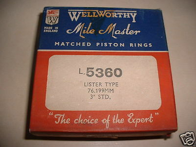 Lister D Dk Type Nos Genuine Wellworthy Piston Rings Std & Oversize