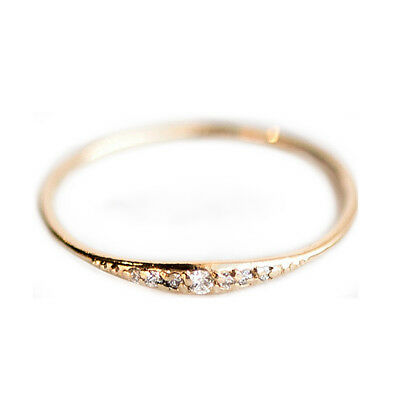 Exquisite Small 14K Gold Filled Tiny Baguette Diamond Ring Size 6-10
