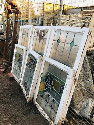 Vintage Old Stained Glass Leaded Windows