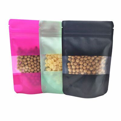 10x15cm Stand Up Matte Colorful Plastic Bag With Window Ziplock Reclosable Pouch