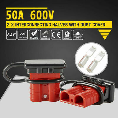 2Pcs 50A 600V Plug w/Dust Cover Charger 2 pole SB50 Quick Connector Battery