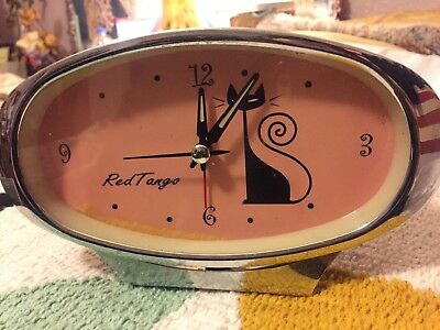 Retro Modernist Clock Black Cat On Pink By Red Tango Tokyo Bay