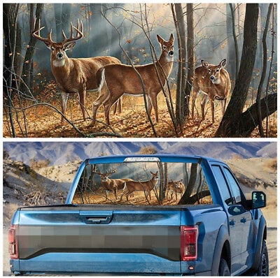135x36cm Forest Animals Rear Window Decal Sticker for Pick-up SUV Car Decoration