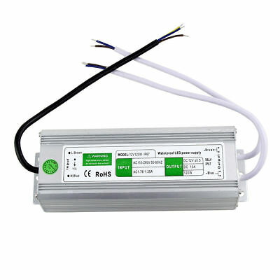 AC to DC 12V 10A 120W LED Driver Power Supply Waterproof for LED Strip Lights