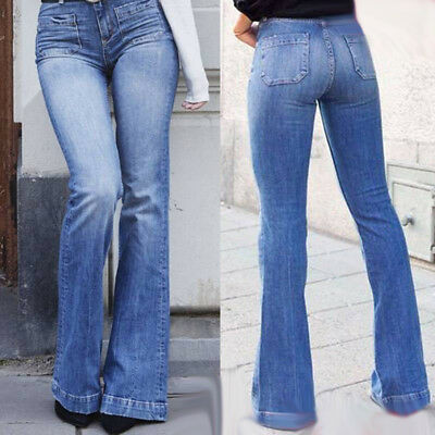 Women High Waist Flared Bell Jeans Denim Pants Casual Skinny Trousers Bottoms