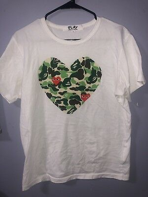 6bbc7d11 MEN'S COMME DES Garcons CDG Play Letter Black Heart Short Sleeve T ...