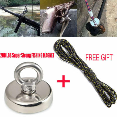 200LBS Recovery Magnet Very Strong Sea Fishing Diving Treasure Hunting +30M Rope
