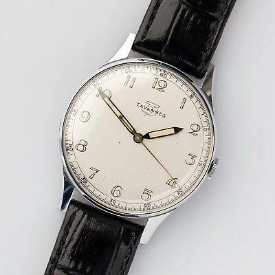 1940s Tavannes NOS Art Deco Silver Dial 35,5 mm