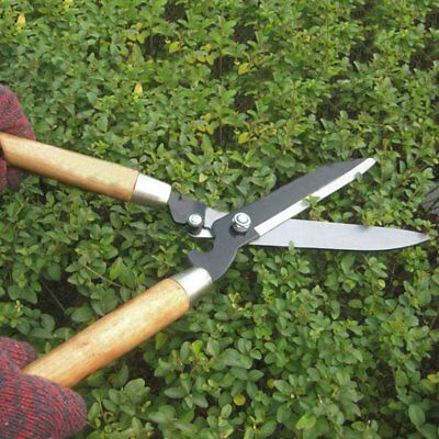 Professional Pruning Scissors Hedge Shears Clippers with Long Wooden Handle #J