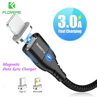 FLOVEME Magnetic Cable Braided Mobile LED Type C Micro USB Magnet Charger 1M