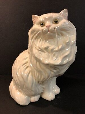 """Vtg LARGE White Ceramic Glass Eyes Persian Cat Statue Figurine~ 14"""" W/ Whiskers"""
