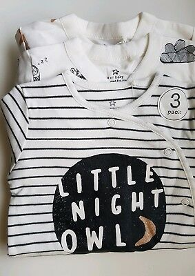 ♡ Next ♡ NEW 3 PACK☆Baby Girl ☆ OWL ☆ Sleepsuits Babygrows Pyjamas ☆ 3-6 Months