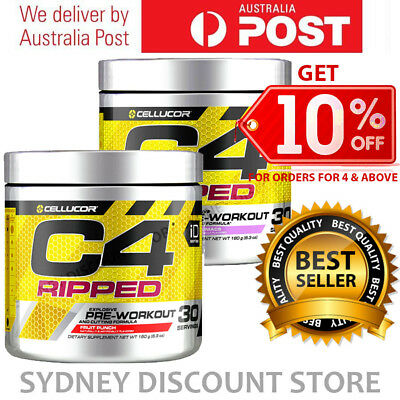 CELLUCOR C4 RIPPED PRE WORKOUT ENERGY THERMOGENIC FAT BURNER GEN4 30 SERVES x 2