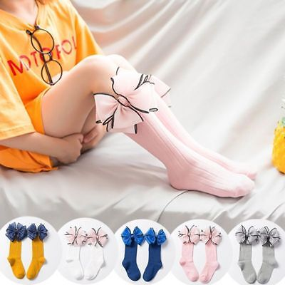 Children Socks With Bows Baby Girls Knee High Cotton Toddler Long For Kid Infant