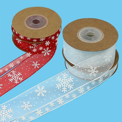 DIY Craft Christmas Wedding Party Wrapping Snowflake Ribbons Bows Decor LH