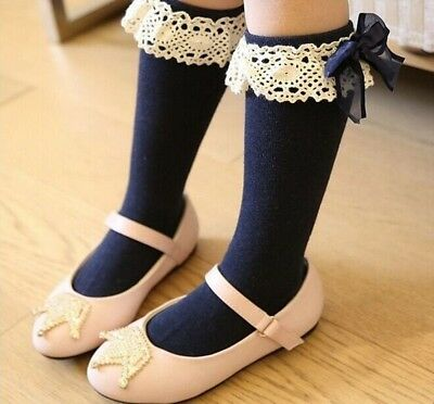 Socks Children Kids Girls Knee High With Lace Baby Leg Warmers Cotton Spandex