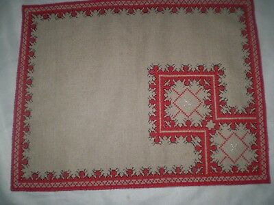 beautiful vintage hand-embroidered linen tablecloth natural color