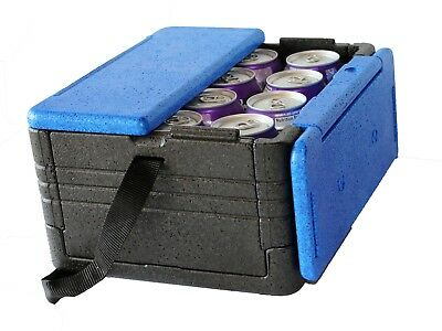 FLIP BOX MINI (Blue/Black) Holds 12 Cans Insulation Box Foldable Lunch Cooler!