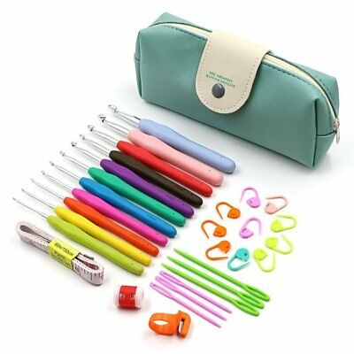 11pcs Soft Handle Aluminum Crochet Hooks Kit Yarn Knitting Needles Sewing Tool#J