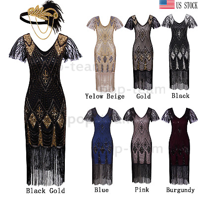 9f157517d6e0f Womens Vintage 1920s Flapper Gatsby 20s Wedding Party Evening Dress Plus  Size