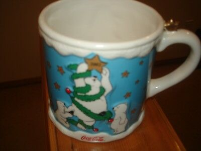 COCA-COLA Coke CHRISTMAS MUG 2002 - RARE - POLAR BEARS - MINT CONDITION
