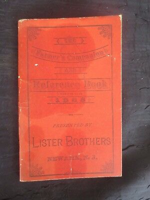 Antique 1885 Lister Brothers Farmer's Companion Reference Book, RARE