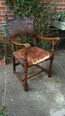 17th Century Oak & Leather Open Arm Chair DELIVERY POSSIBLE