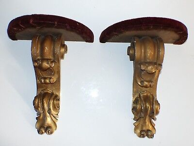 PAIR Late 19th / Early 20th Century Carved Gilded Wooden Wall Brackets / Shelves