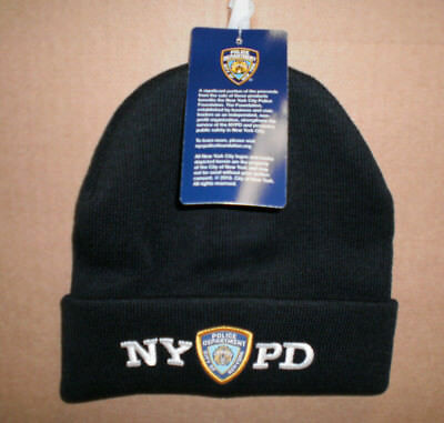 New NYPD Men's Embroidered Navy Knit Beanie Hat OSFA New York Police Department