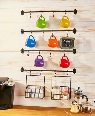 Wall Mounted Coffee Mug Rack with Hooks & Baskets Steel Kitchen Storage NEW