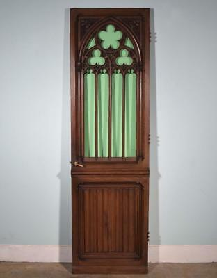 "*Antique French 87"" Solid Oak Wood Gothic Door with Green Glass Salvage"