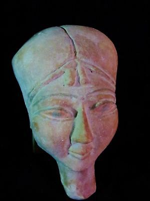 Amazing Huge Ancient Egyptian Painted Sand Funeral Mummy Royal Mask 1635-755 BC
