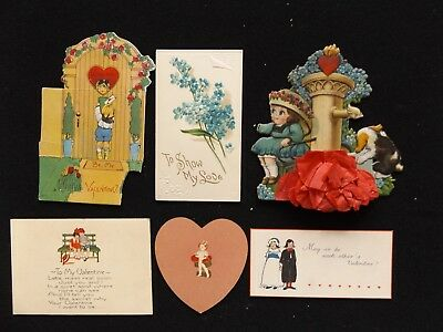 6 Embossed Die Cut Valentine's Day Cards Victorian Scrap Some Damage Craft Use