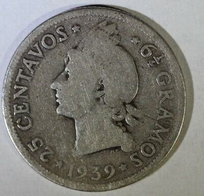 Dominican Republic 1939 25 Centavos National Arms 24mm silver- Foreign Coin,