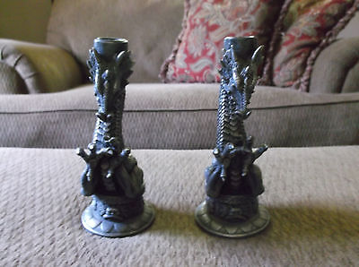 """1997 Gothic Dragons Set of 2 Candle Holders Pewter Look Resin? Beautiful 8.25"""""""