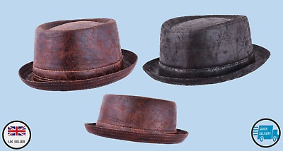 Maz Cracked Leather Distressed Vintage Pork pie Hat - Brown/Black Two size