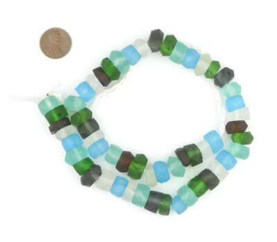 Earth Mix Recycled Java Sea Glass Beads 11mm Indonesia Multicolor Faceted