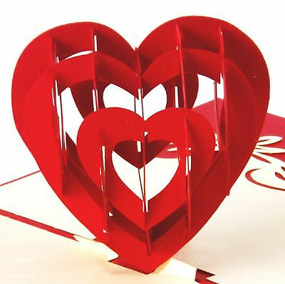 3D Cut Pop Up I Love You Heart Anniversary Wedding Valentine Birthday Card