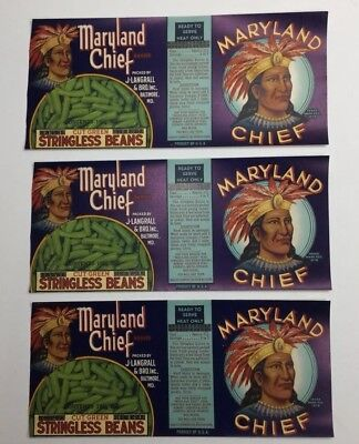 LOT OF 3 MARYLAND CHIEF VINTAGE GREEN BEAN CAN LABELS BALTIMORE ORIGINAL 1930's