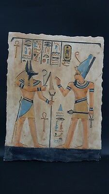 ANCIENT EGYPTIAN ANTIQUITIES Ramses With Anubis Stela Relif Ramses Tomb Stone BC