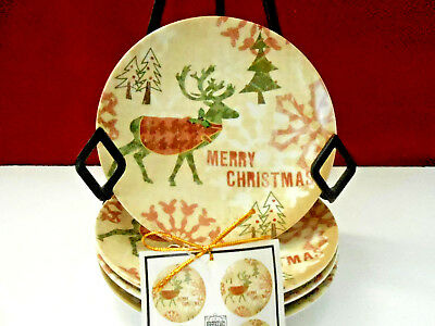 """222 Fifth Reindeer Fun Set Of 4 Round 6-1/2"""" Appetizer Plates New!"""