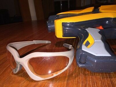 Hasbro Nerf Dart Tag GUN & Safety GLASSES LOT single Shot Blaster Pistol orange